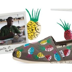 TOMS special edition hand-painted pineapple shoes!